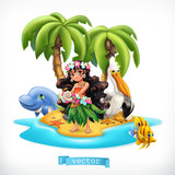 Little girl and funny animals. Tropical island 3d vector icon - 203708137