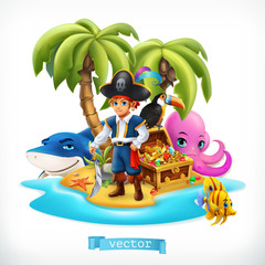 Ppirate. Little boy and funny animals. Tropical island and treasure chest, 3d vector icon