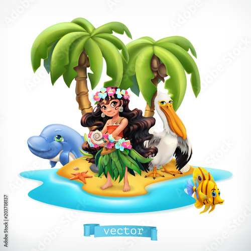 Little girl and funny animals. Tropical island 3d vector icon