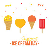 Cute colorful card, illustration for National Ice Cream Day with set, collection of different ice cream. - 203708382