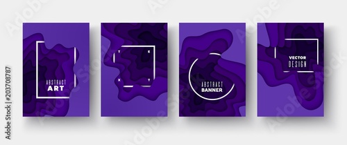 Fototapeta Ultraviolet paper cut wave shapes Layered curve hole Origami design 3D abstract map carving Set of 4 vertical banners A4 3D abstract map carving