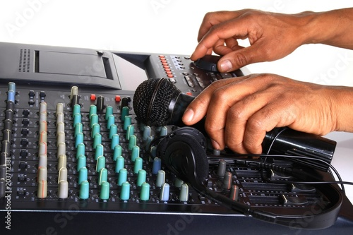 image of music mixing desk in a studio - 203712381