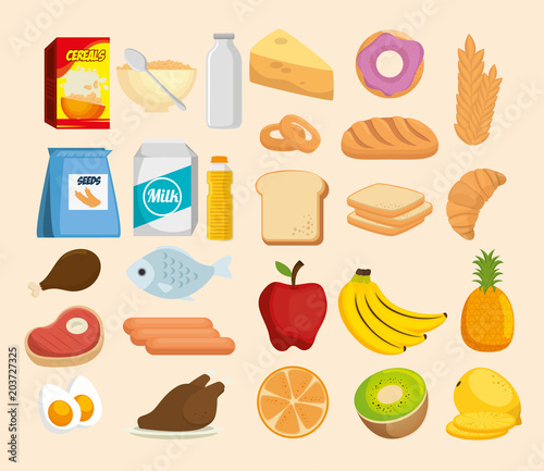 Poster group of nutritive food icons vector illustration design