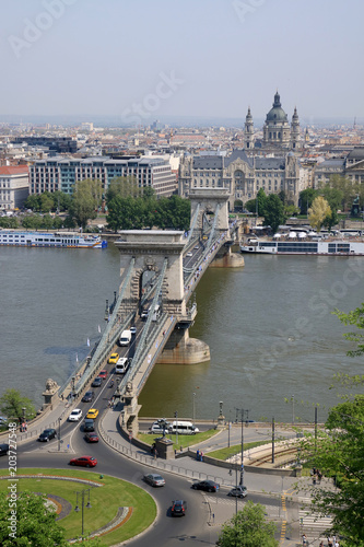 Canvas Boedapest Aerial view of the chain bridge in Budapest