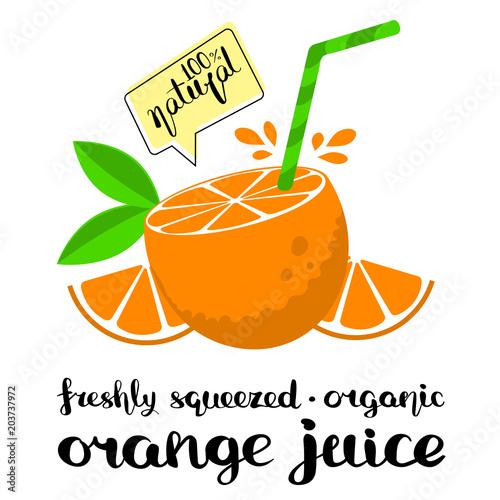 plakat świeżego soku pomarańczowego
