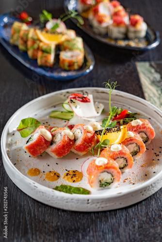 Fotobehang Sushi bar sushi in the restaurant
