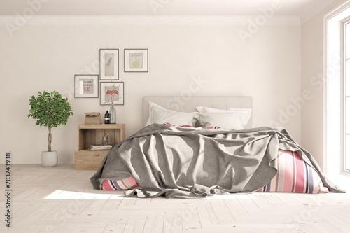 Idea białej minimalistycznej sypialni. Skandynawski wystrój wnętrz. 3D ilustracji