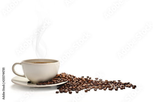 Cup of coffee with smoke and coffee beans isolated on white © amenic181