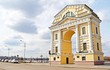Yellow Triumphal Arch Moscow Gates near Angara river in Irkutsk city, Russia. A gate to Moscow.
