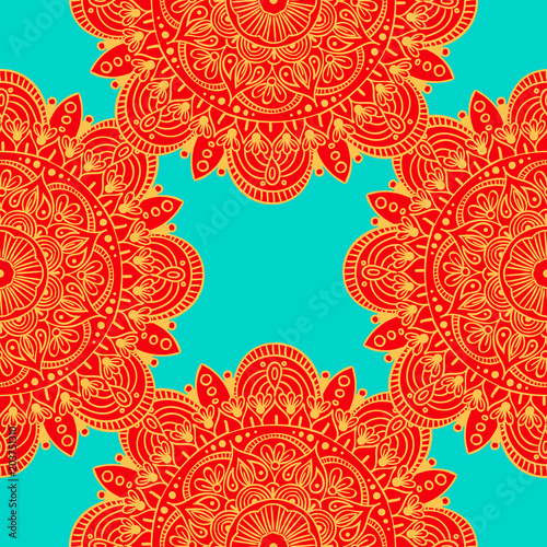 Cotton fabric Seamless ethnic pattern with floral motives. Mandala stylized print template for fabric and paper. Boho chic design. Summer fashion.
