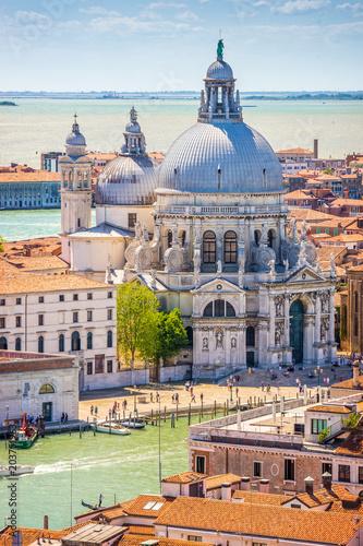 Zdjęcia na płótnie, fototapety na wymiar, obrazy na ścianę : Scenic view, Venice, Grand Canal and Basilica Santa Maria della Salute, Italy, Europe