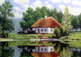 The art. Oil paintings landscape, rural, house. Fine art.
