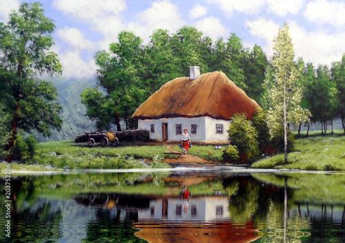 Plexiglas Pistache The art. Oil paintings landscape, rural, house. Fine art.