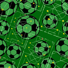 Soccer ball seamless pattern with strategy drawing, football background, vector illustration © Thomas Bethge