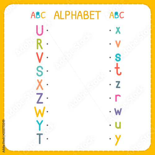 Join each capital letter with the lowercase letter. From R to Z. Worksheet for kindergarten and preschool. Exercises for children