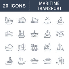 Set Vector Line Icons of Maritime Transport.