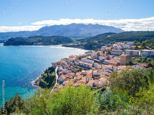 panoramic view of lastres fishing village in asturias, Spain