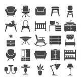 Furniture simple design icons set for web and mobile design - 203782942