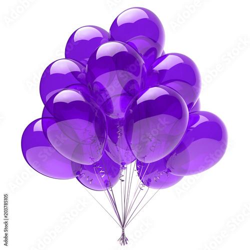 Fioletowy balonik, dekoracja urodzinowa niebieski, błyszczące balony z helem fioletowe półprzezroczyste. Święto rocznicy obchodzi zaproszenie pozdrowienie projekt element. 3d ilustracja