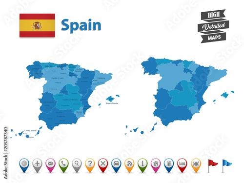 Spain - High Detailed Map With GPS Icon Collection