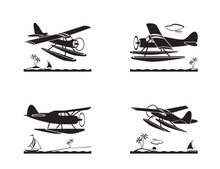Seaplane In Flight Over Sea   Illustration Sticker