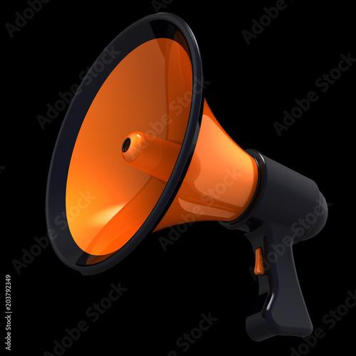 Megafon wiadomości blog głośnik komunikacji ogłosić uwagę symbol. Ikona pomarańczowy bullhorn. Propagandowy agitacja reklamowy sprzedaży wiadomości pojęcie. 3d ilustracja odizolowywająca na czerni