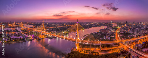 Canvas Bangkok Bangkok cityscape view with Bhumibol bridges