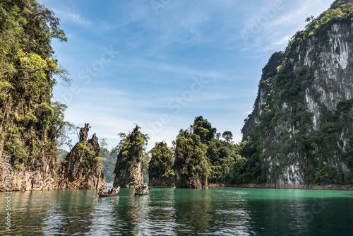mini island on lake in Thailand