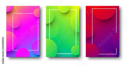 Trzy kolorowe tła z abstrakcyjny wzór.