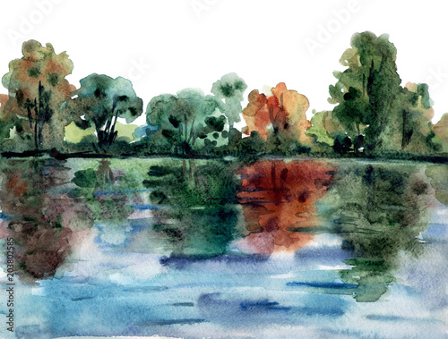 Landscape with the trees on the river bank, reflected in the water. Abstract watercolor painting. - 203802585