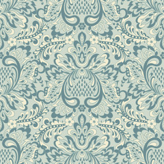 Seamless Vector floral wallpaper. Classic Baroque floral ornament.  © meduzzza