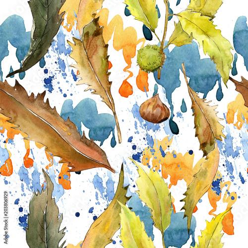suse-blatter-kastanie-in-einem-aquarell-stil-muster-aquarellblatt-fur-hintergrund-beschaffenheit-verpackung