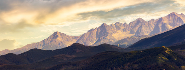 part of High Tatra mountain ridge at sunset. view from Poland side © Pellinni