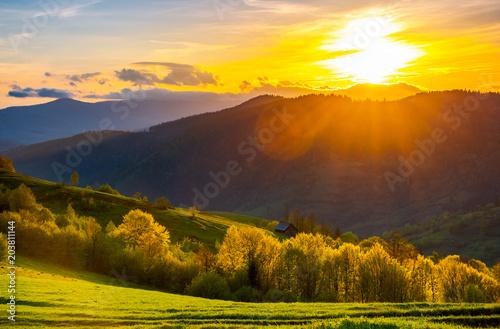 great sunset in Carpathian mountains. beautiful springtime landscape. forest on grassy hills back lit. abandoned woodshed in shade behind the forest