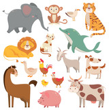 Child cartoons elephant, gull, dolphin, wild animal. Pet, farm and jungle animals vector cartoon illustration collection