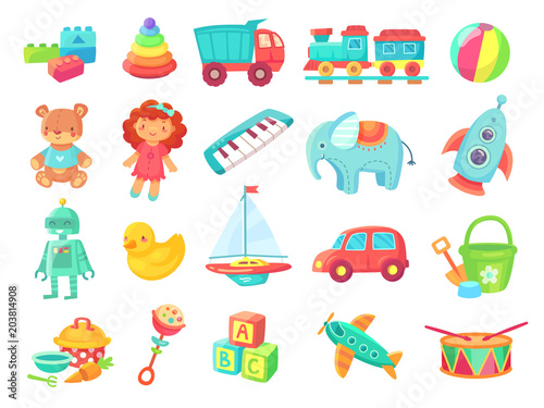 Kids cartoon toys. Baby doll, train on railway, ball, cars, boat, boys and girls fun isolated plastic toy vector collection