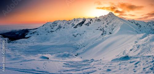 Beautiful mountain sunrise panorama, winter Tatra mountains, Poland