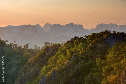 Plexiglas Thailand Spectacular look at the Krabi province from Tiger Cave Monastery at the sunset, Thailand