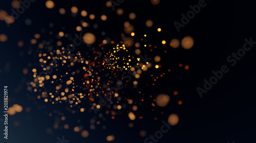 3D Rendering Glitter Gold Bokeh Blurred Background