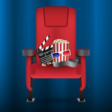 Realistic red cinema movie theater seat with film strip, popcorn bucket, clapperboard and 3D glasses, vector illustration - 203823364