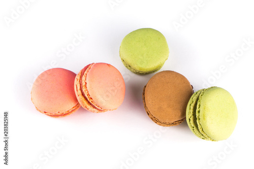 Fotobehang Macarons Delicious macarons isolated on white