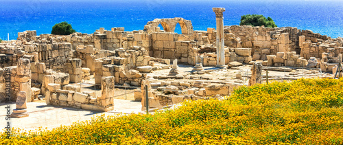 Fotobehang Freesurf Ancient temples and turquoise sea - touristic attractions of Cyprus island