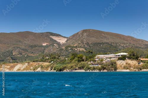 Zakynthos mountain landscape with hotel near blue sea