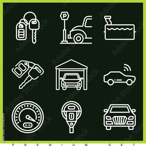 Wall mural Set of 9 car outline icons