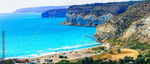 Fotobehang Freesurf Cyprus island - beautiful impessive rocky beach Curium (Kourion)