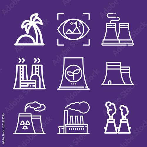 Fotobehang Violet Set of 9 landscape outline icons