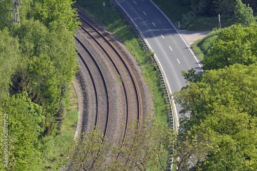 Plexiglas Spoorlijn parallele verkehrswege