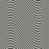 Curved wavy lines seamless pattern. Vector texture with black and white waves - 203840588