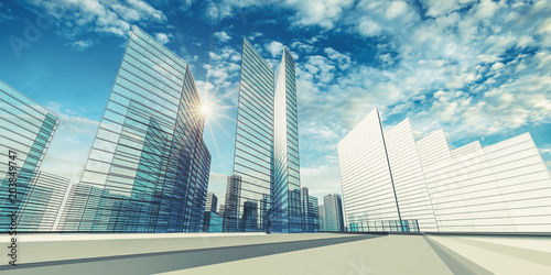 Poster City scene 3d rendering