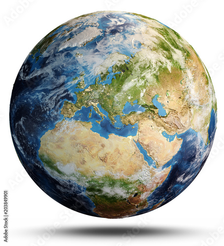 Planet Earth map. 3d rendering